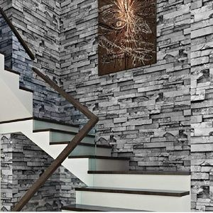 Blooming Wall 3D Gray Brick Stone Wallpaper Roll